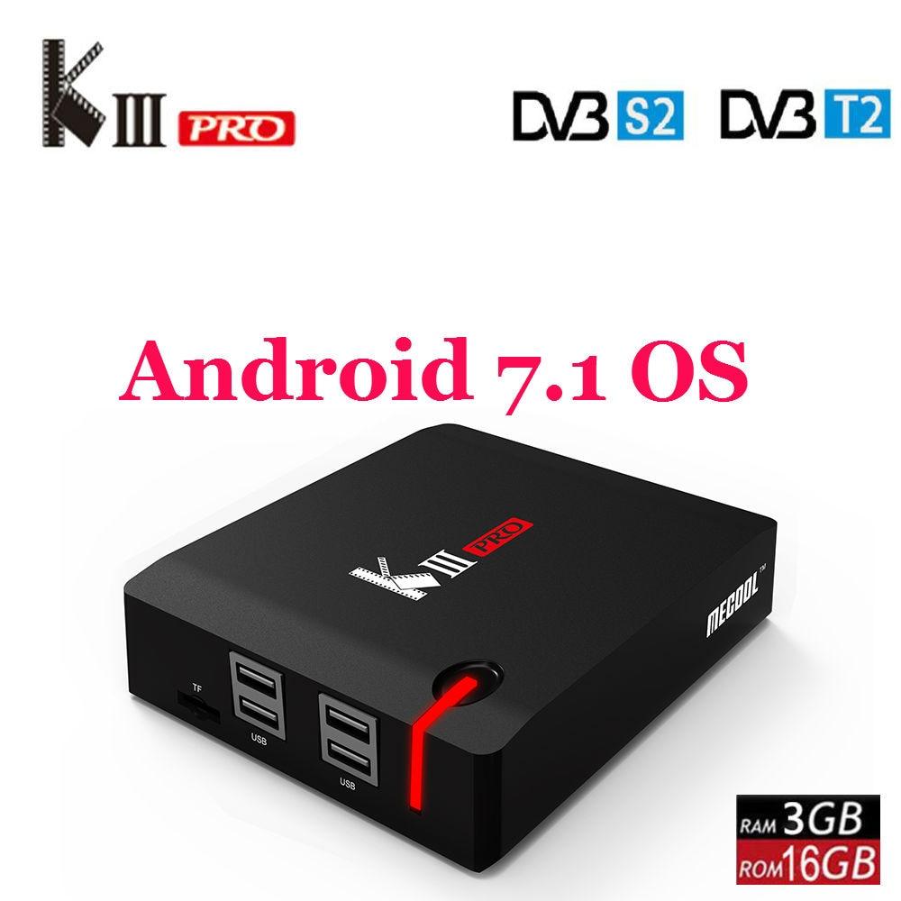 MECOOL KIII PRO DVB-S2 DVB-T2 DVB-C Android 7.1 TV Box 3 gb 16 gb Amlogic S912 Octa Core 4 k combo NEWCAMD Biss key PowerVU