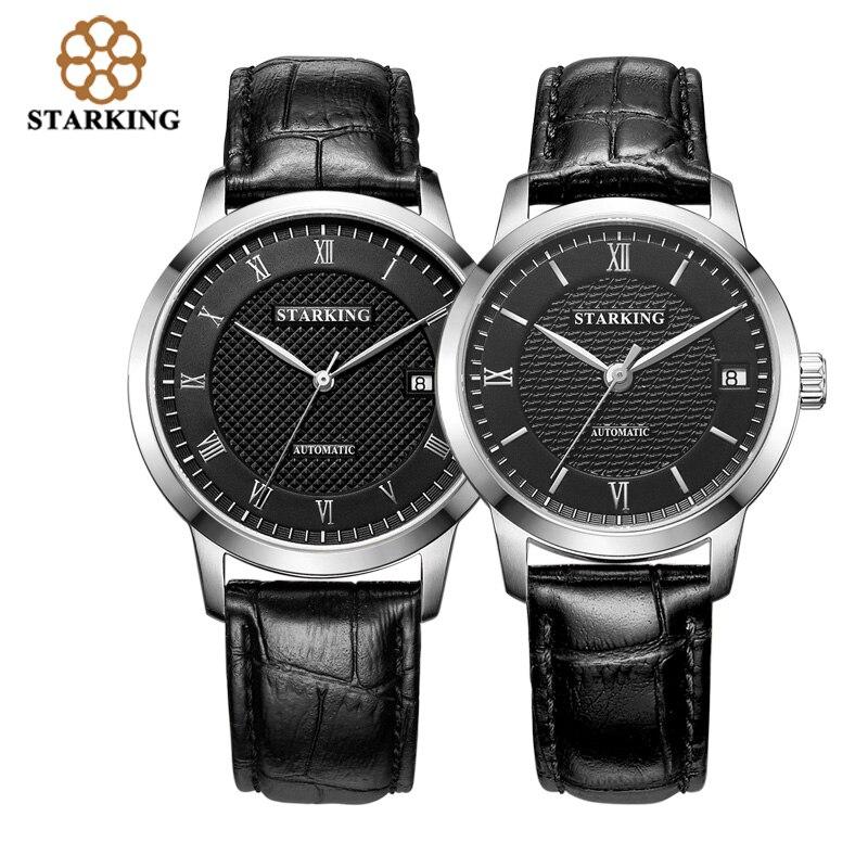 13ef3bac82a STARKING Marca Top de Couro Genuíno Amantes de Relógios Homens   Das  Mulheres Relógio Mecânico Automático Relógios de Pulso Casal Definir  AM L0187