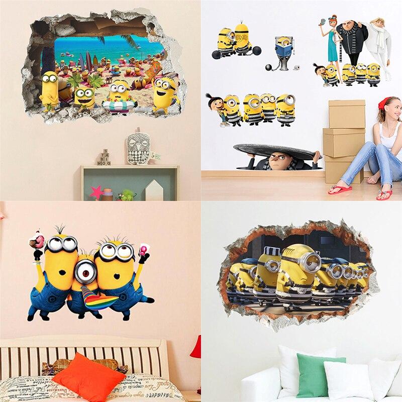 4 sortes Jaune Dessin Animé Homme 3dview Stickers Muraux Pour Enfants Chambre Décoration Adesivos De Parede décoration bricolage Papier Peint Art PVC