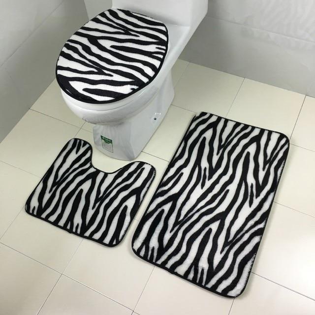 3 Pcs Set Bathroom Soft Non Slip Mat Toilet Seat Covers Set Bath Rug