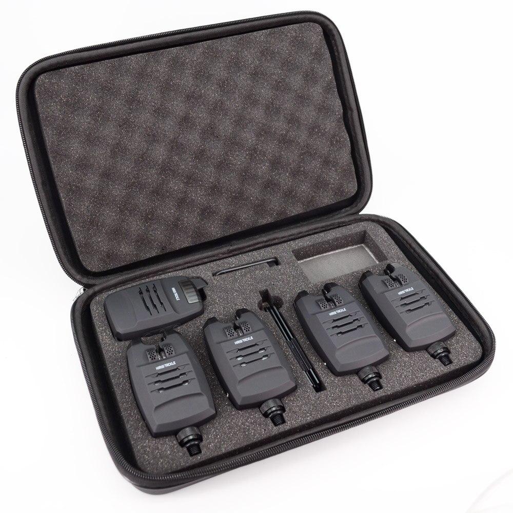 1 + 4 Set d'alarme de pêche à la carpe sons et LED alarme sans fil indicateur d'alarme de morsure de pêche électronique avec barre d'oreille accrochée B1228 - 2