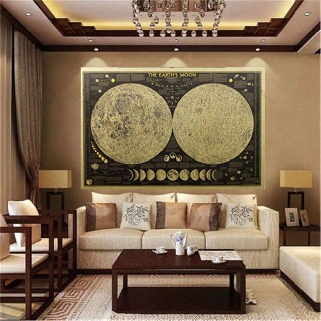 Aliexpress buy 1pcs moon vintage paper wall sticker decal wall 1pcs moon vintage paper wall sticker decal wall poster globe world map wallpaper unique home decoration gumiabroncs Choice Image