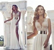 Pageant Kristall Perlen Julie Vino Brautkleider 2016 V-ausschnitt Flügelärmeln A-linie Bodenlangen Abendkleider Pageant Kleider Vorne Sp