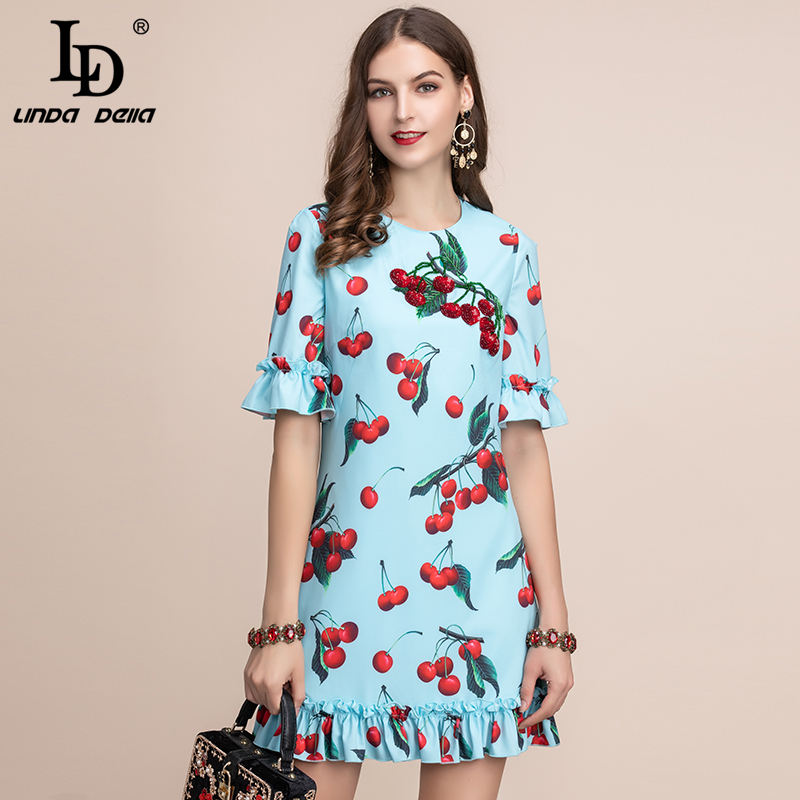 LD LINDA DELLA Fashion Runway Summer Dress Women 39 s Short Sleeve Ruffles Cherry Printed A Line Elegant Ladies Mini Casual Dress in Dresses from Women 39 s Clothing