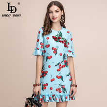 LD LINDA DELLA Fashion Runway Summer Dress Womens Short Sleeve Ruffles Cherry Printed A-Line Elegant Ladies Mini Casual