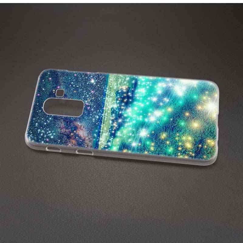 สำหรับ Samsung Galaxy A6 A8 Plus A7 2018 J4 J6 J8 Plus 2018 Clear โทรศัพท์ Coque Shell สีชมพู Glitter ทองเพียงพิมพ์