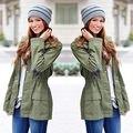 Новый Дамы Пальто С Капюшоном Зима Теплая Пальто Женщин Длинный Жакет Пальто Army Green