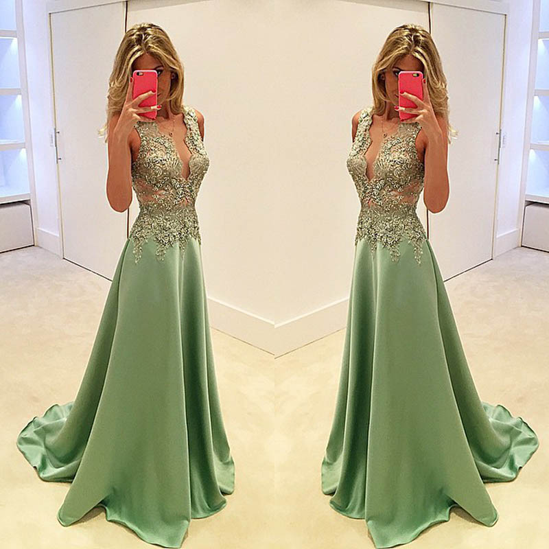 Lace Bodice A Line Long Evening Dress Vestidos De Longos Floor Length Satin Prom Gown For Wedding Party Robe De Soiree(China)