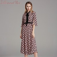 Elegant Bow Neck Floral Print Silk Women Dress Half Sleeve Female Retro Office Lady Dress 2019 Autumn Women Midi Vestidos