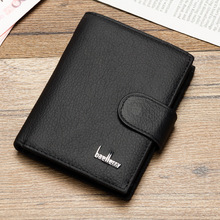 Vertical cow leather short wallet men high quality guarantee balck coffee multifactional casual solid hasp organizer wallet male