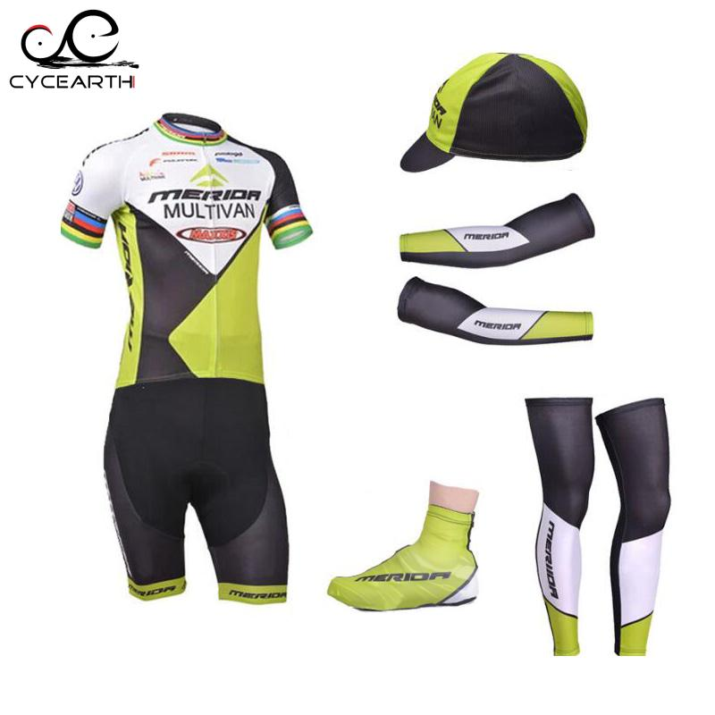 2016 merida team bike wear cycling clothing breathable sports cycling jersey with hat arm sleeves leg warmer shoes cover