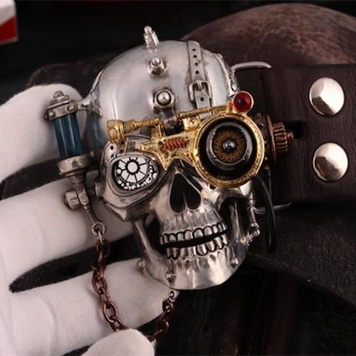 OGRM Steam Punk Style Bälte Tenn Alloy Bältesspänne Gotisk Skull - Konst, hantverk och sömnad