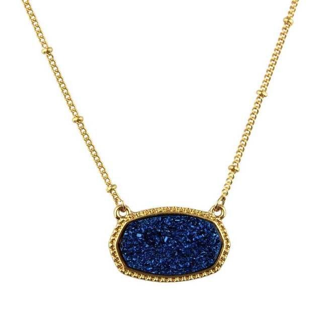 Popular Oval Blue Druzy Choker Necklace for Women 2018 Fashion Gold Chain Bohemian Chokers Statement Necklaces Pendants Jewelry