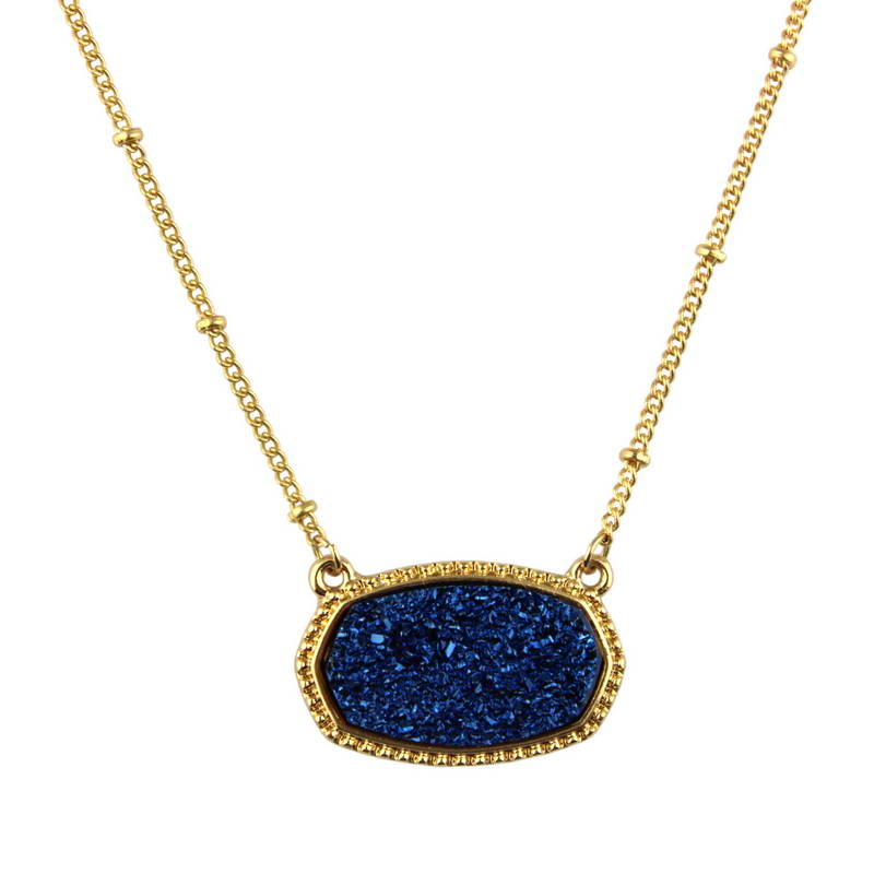 Popular Oval Blue Druzy Choker Necklace For Women 2020 Fashion Gold Chain Bohemian Chokers Statement Necklaces Pendants Jewelry Leather Bag