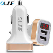 OLAF Dual USB Car Charger LED Digital Display GPS Auto Fast Charge Adapter USB Chargers Fo