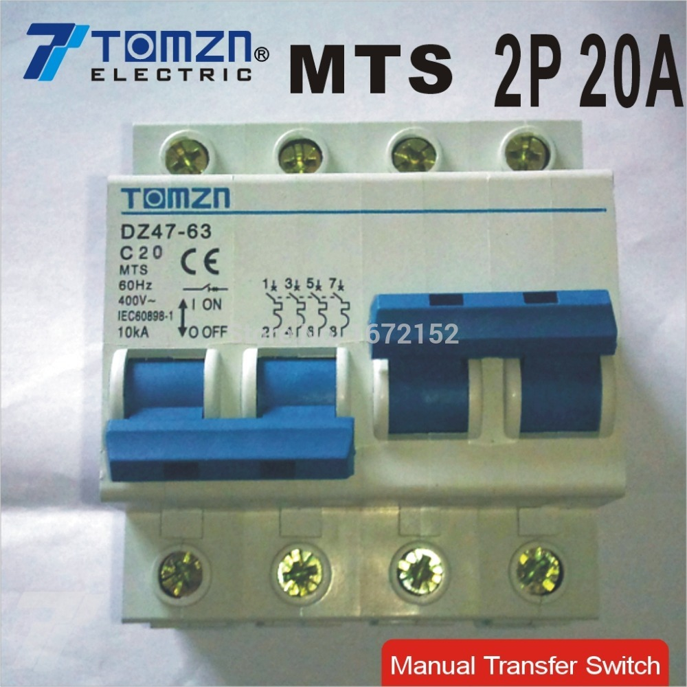 2P 20A MTS Dual power switch Manual transfer switch Circuit breaker ...