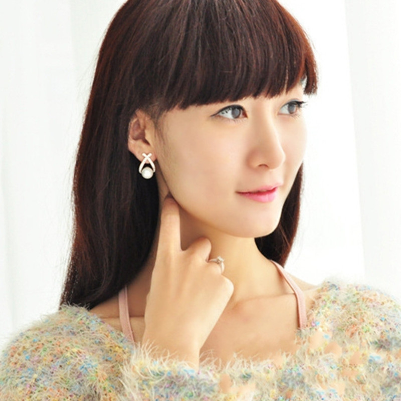 Bijoux fantaisie simulé perle boucles d'oreilles goutte mignon nœud papillon boucles d'oreilles pour les femmes brillant cristal bijoux de mariage élégant 2