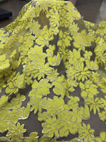 2018 High quality African lace fabric Yellow bridal french tulle lace fabric