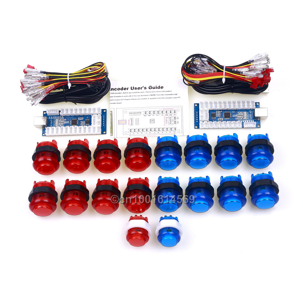 LED Arcade Game DIY Parts Bundles 4 In 1 USB Encoder Board + LED Arcade Button Wires Harness + USB Port Cable To Android Project fast free ship for gameduino for arduino game vga game development board fpga with serial port verilog code