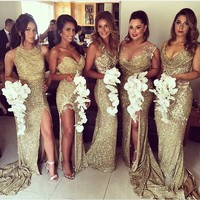 2016 vestido para madrinhas gold sequin bridesmaid dress side slit sexy long mermaid sparkly bridesmaid dresses