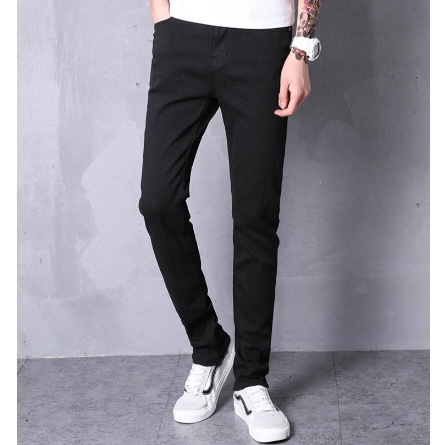 LEFT ROM 2019 Fashion Boutique Stretch Casual Mens   Jeans   Skinny   Jeans   Men Straight Mens Denim   Jeans  /Male Stretch Trouser Pants