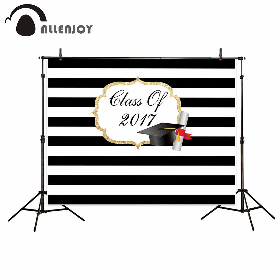 Allenjoy photography backdrop Black and white stripes LOGO custom graduation background newborn original design for photo studio allenjoy photography backdrop library books student child newborn photo studio photocall background original design