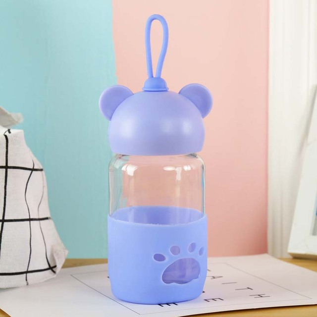 300ml Baby Silicone Milk Feeding Bottle Mamadeira Vidro BPA Free Safe Infant Juice Water Feeding Bottle Cup Glass Nursing Feeder