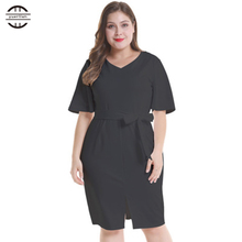 2019 New Summer Big Size Party Dress Women Sexy V Neck Casual Short Sleeve Solid Plus Slim White Elegant Vestidos