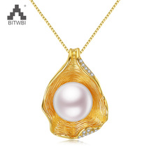 100% silver 925 jewelry Pearl Woman's Pendant Jewelry Irregular Shell design Ladies Necklace items Wedding Gift