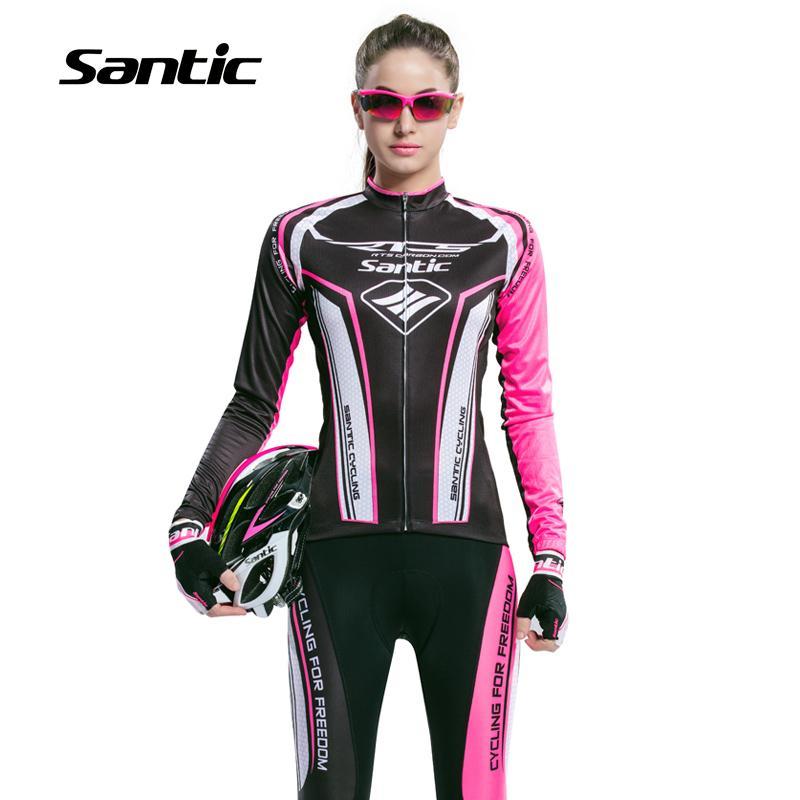 ФОТО  New Arrival Santic Spring Long Sleeve Jersey Cycling Sets Women Cycling Gel Pant Bike Boy Pink Ladies Cycling Sets L5CT055P