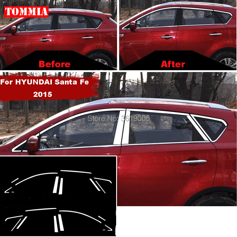 TOMMIA Full Window Middle Pillar Molding Sill Trim Chromium Styling Strips Stainless Steel For hyundai Santa Fe 2015
