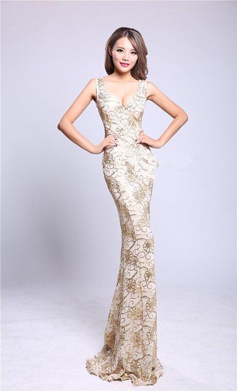 Berpayet Disesuaikan V neck Party Gown Formal Panjang Evening dresses vestido de festa longo jubah de soiree pernikahan & de novia H0873