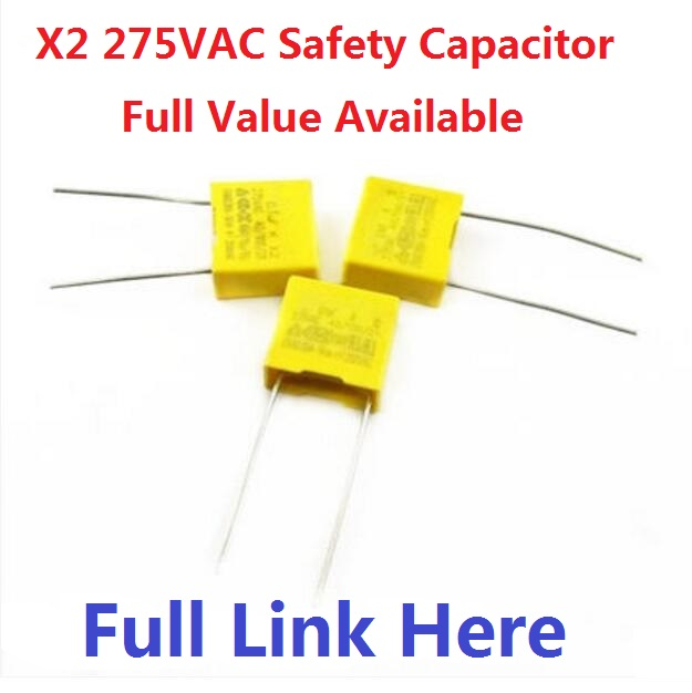 10PCS X2 Safety Capacitor 275VAC 102K 222K 472K 103K 223K 333K 473K 683K 104K 154K 474K 224K 684K 334K 224K 105K 0.1uf 100NF