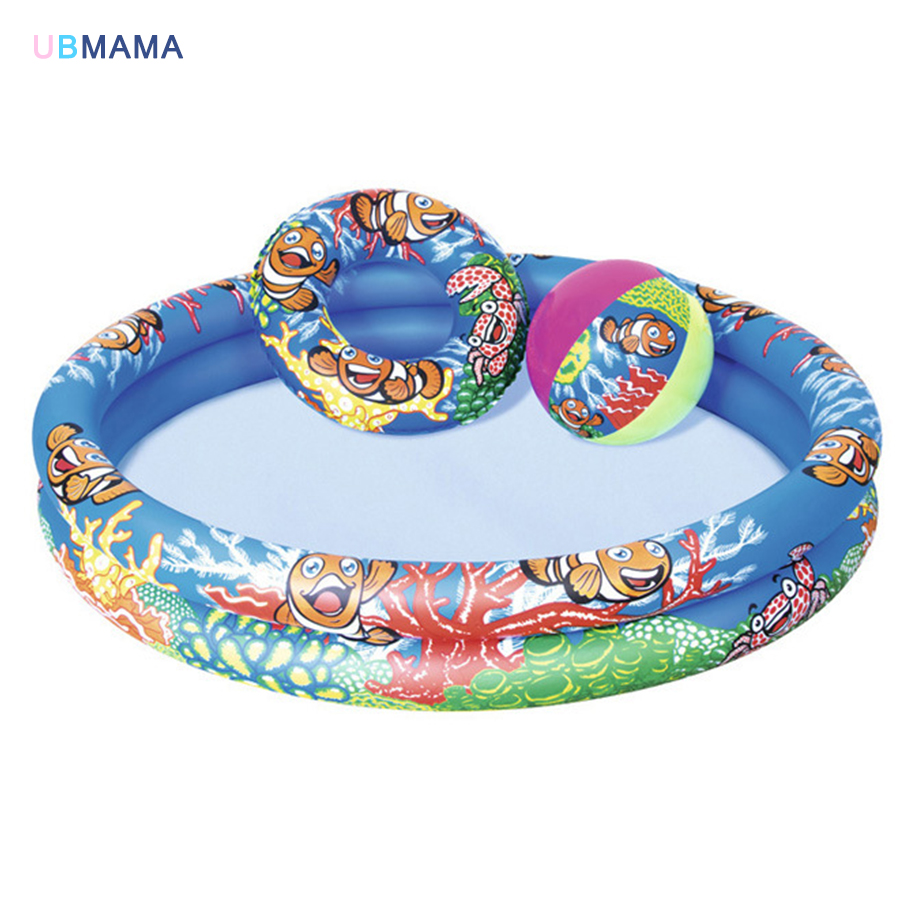 Exquisite patterns plastic Inflatable play pool Boys and girls Swimming pool + swim ring + ball children marine 2nd floor pool