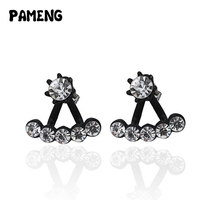 Pameng Women's Fashion Jewelry Rhinestone Stud and Ear Jacket Cuff Earrings New Brincos 2016 In Gold Silver Black Color
