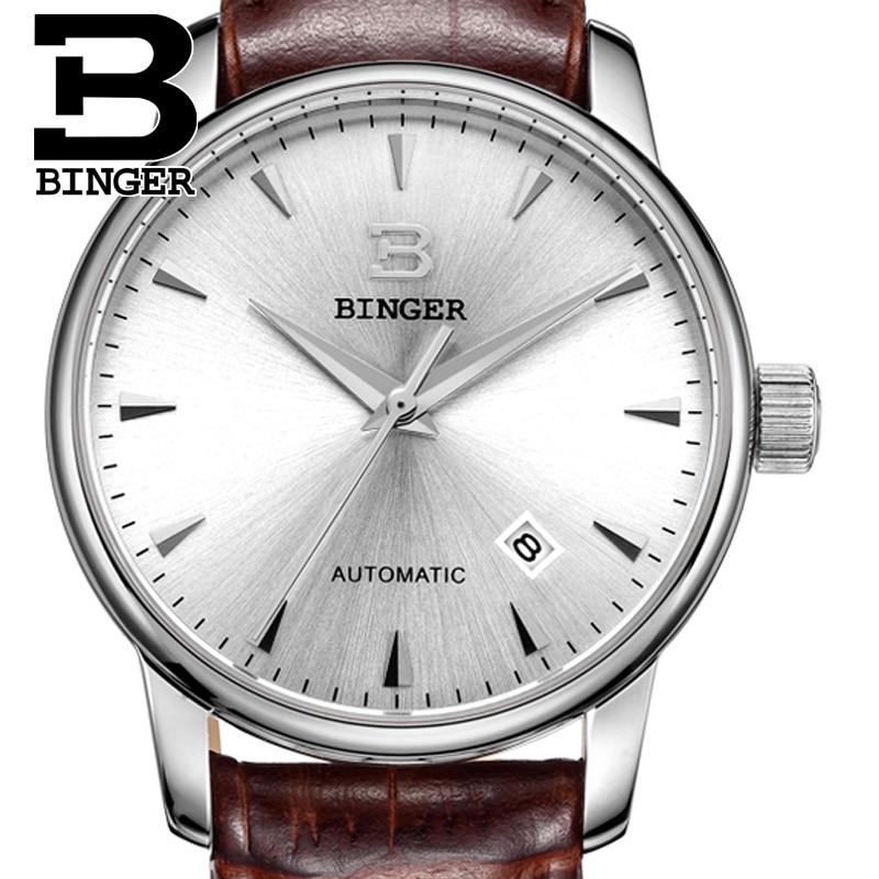 Switzerland watches men luxury brand18K gold Wristwatches BINGER business Mechanical Wristwatches leather strap B5005B 3