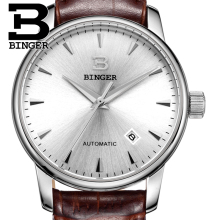 Switzerland watches men luxury brand18K gold Wristwatches BINGER business Mechanical Wristwatches leather strap B5005B-3