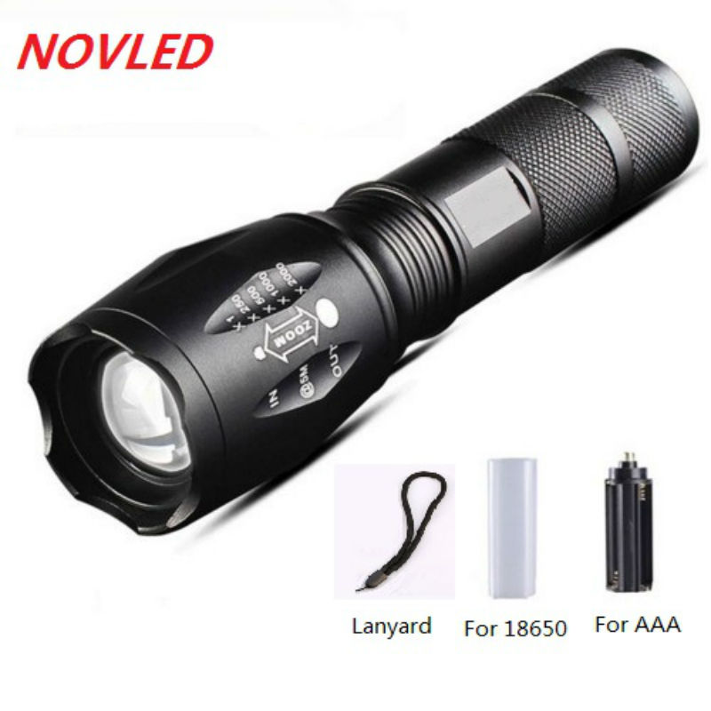 T6 táctico linternas 5 modo 8000LM aluminio impermeable Zoomable LED linterna antorcha 18650 batería recargable o AAA