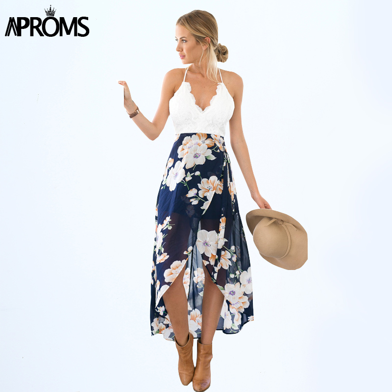 Aproms Wanita Musim Panas Dresses Sexy V-Neck Putih Lace Patchwork Floral Party Dress Sundresses Panjang Chiffon Beach Dress