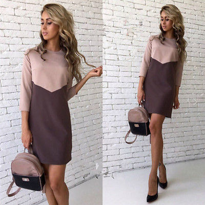 2016 Women basic color Casual Dress Simple Design half Sleeve American Apparel Summer Style dress