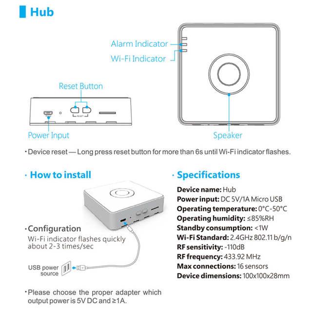Broadlink S2 Host Smart Home Security Alarm Detect Hub WIFI Remote Control  Anti-thef Device Compatible S1C Door Sensor PIR