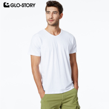 GLO-STORY Mens 2019 Basic T-shirt Casual Solid Knitted Cotton V-Neck Shirt Male Short Sleeve MPO-8725