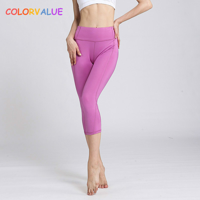 11d873a502323 Colorvalue Solid Widen Waistband Yoga Pants Women Stretchy High Waist  Running Capri Pants Anti-sweat