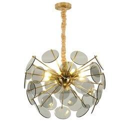 Luksusowe nowoczesny żyrandol LED światła Toolery ze szkła oranżowego klosz lampy LED zawieszenie światła hotel jadalnia sala domu dekoracji|modern led chandelier|led chandelierled chandelier light -