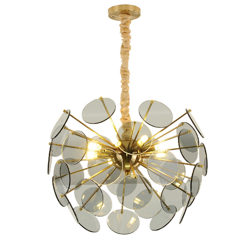 Luxury Modern LED Chandelier light Toolery amber glass lampshade LED suspension light hotel dinning room hall home decotation