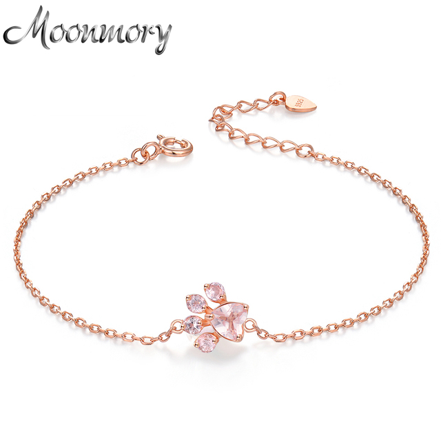 a397b8ddc Moonmory Real 925 Sterling Silver Bear's Paw Rose Gold Resizable Bracelet  For Women Romantic Christmas Support Wholesale
