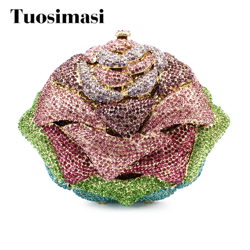 цена Gift Box Packed Evening Bag Rose Flower Crystal Bag Stylish Day Clutches Prom Ladies Handbag (8726A-G)