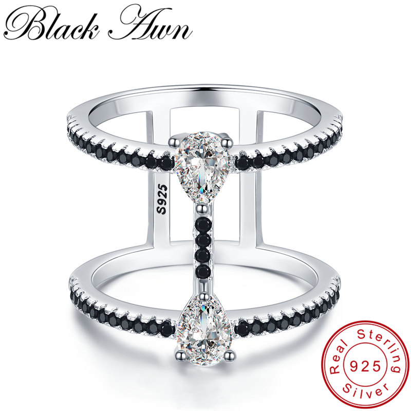 [BLACK AWN] 925 Sterling Silver Jewelry Engagement Rings For Women Female Bijoux Hollow Finger Ring Silver 925 Jewelry G065