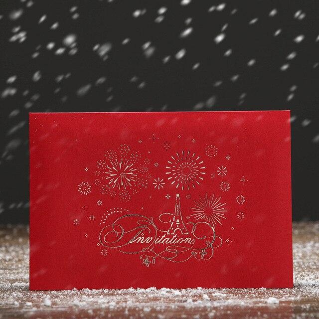 (100 Teile/los) LEISO Marke 3D Laser Cut Handgemachte Blume Herz Eiffelturm  Einladungskarte