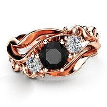 Las mujeres joyería de la vendimia anillos de oro rosa hueco de flor de Zircon negro de novia casamiento compromiso anillo regalo de San Valentín